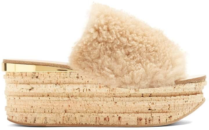 Chloé Camillie shearling wedge slides