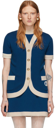 Gucci Blue Wool GG Short Sleeve Cardigan