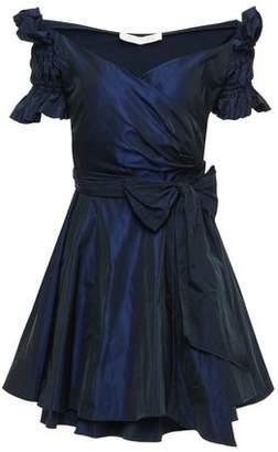 Jonathan Simkhai Off-the-shoulder Ruffled Taffeta Mini Wrap Dress