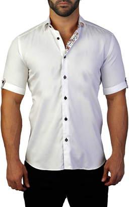 Maceoo Galileo Maze White Regular Fit Short Sleeve Shirt