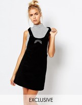 Lazy Oaf Corduroy Pinafore Dress With Messed Up Slogan