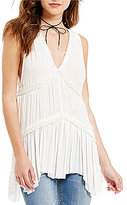 Free People Purple Haze Tiered Peplum Sleeveless Tunic