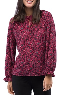 Bobeau B Collection By B Collection by Regina Floral-Print Keyhole Blouse
