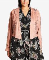 City Chic Trendy Plus Size Lace-Trim Faux-Suede Jacket