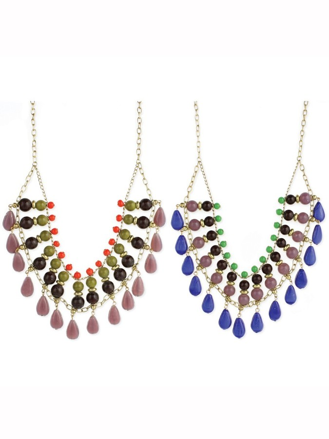 Z Designs Bright Bead Bib Drop Necklace