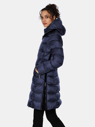 Dawn Levy Charlie Gem Fitted Midlength Puffer Coat with Attached Bib Warmer