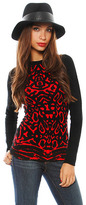 Torn By Ronny Kobo Marina Animal Jacquard Top in Red