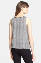 Halogen Faux Leather Trim Sleeveless Wrap Front Top