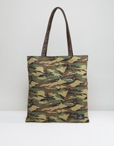 Asos Tote Bag in Camo Print With Faux Leather Straps