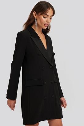 NA-KD Satin Detail Blazer Dress Black
