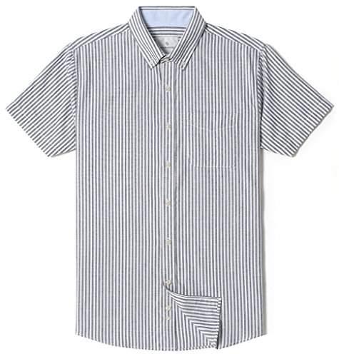 16b0de23433c9 Chain Stitch Mens Short Sleeve Check Button-Down Collar Casual Plaid Shirt