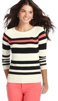 LOFT Colorblock Striped Cotton 3/4 Sleeve Sweater