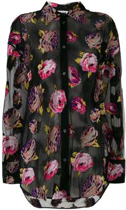 MSGM sheer floral embroidered shirt