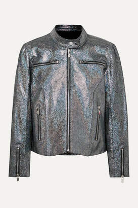 The Mighty Company - The Ripon Metallic Coated Suede Jacket - Black