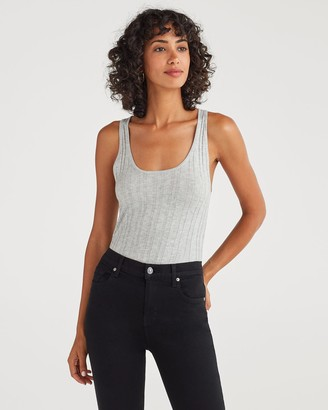 7 For All Mankind Cashmere Blend Racer Back Tank in Heather Grey