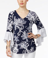 Alfani Floral-Print Ruffle-Sleeve Top, Only at Macy's