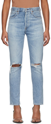 Citizens of Humanity Blue Liya High-Rise Classic Fit Rip Jeans