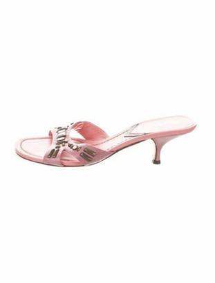 Miu Miu Leather Embellished Sandals Pink