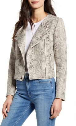 Cupcakes And Cashmere Snake Print Faux Suede Moto Jacket
