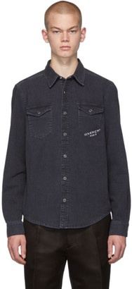 Givenchy Black Denim Logo Shirt