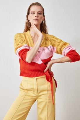 Trendyol Orange Double Breasted Colour Block Kn