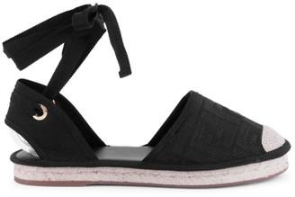 Fendi Ankle-Wrap Espadrille Sandals