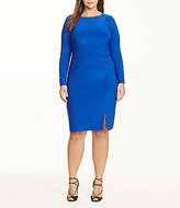 Lauren Ralph Lauren Plus Round Neck Ruched Solid Jersey Sheath Dress