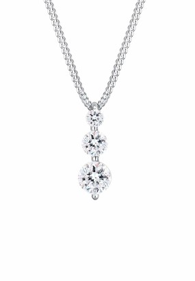 Elli Women's 925 Sterling Silver Swarovski Crystals Trio Classic Necklace of Length 45 cm