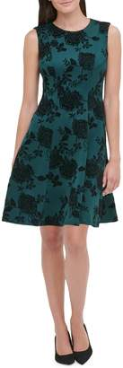 Tommy Hilfiger Floral Velvet-Trimmed Fit--Flare Dress