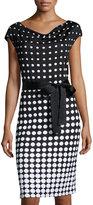 St. John Polka Dotted Knit Dress, Black/White