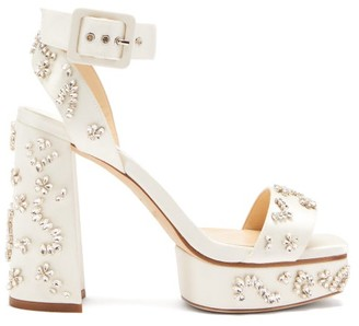 Jimmy Choo Jax 115 Crystal-embellished Satin Platform Sandals - White