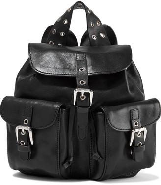 Red(V) Buckle-detailed Leather Backpack