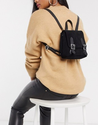Asos Design DESIGN SUEDE backpack with buckles