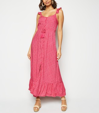 New Look Floral Button Up Frill Maxi Dress