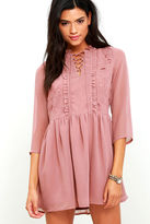 Glamorous Soft Spoken Mauve Embroidered Lace-Up Dress