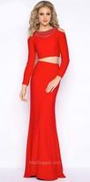 Mac Duggal Two Piece Long Sleeve Cold Shoulder Evening Dress
