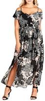 City Chic Plus Size Women's Floral Shadow Cold Shoulder Maxi Dress