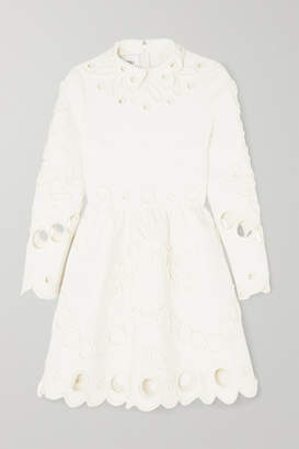 Valentino Appliqued Laser-cut Crepe Mini Dress - Ivory