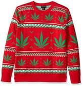 Alex Stevens Men's Marijuana Jacquard Ugly Christmas Sweater