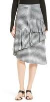 Tibi Women's Gingham Asymmetrical Ruffle Skirt
