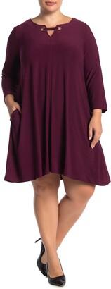 Nina Leonard 3/4 Sleeve Trapeze Dress