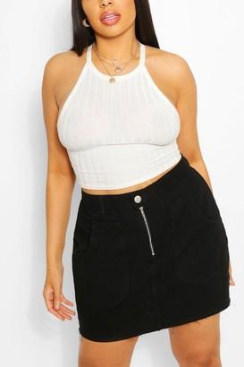boohoo Plus Zip & Pocket Detail Denim Skirt