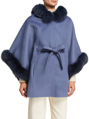 La Fiorentina Hooded Wool Poncho w/ Removable Fox Fur Trim