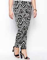 Club L Plus Size Ikat Print Peg Trousers