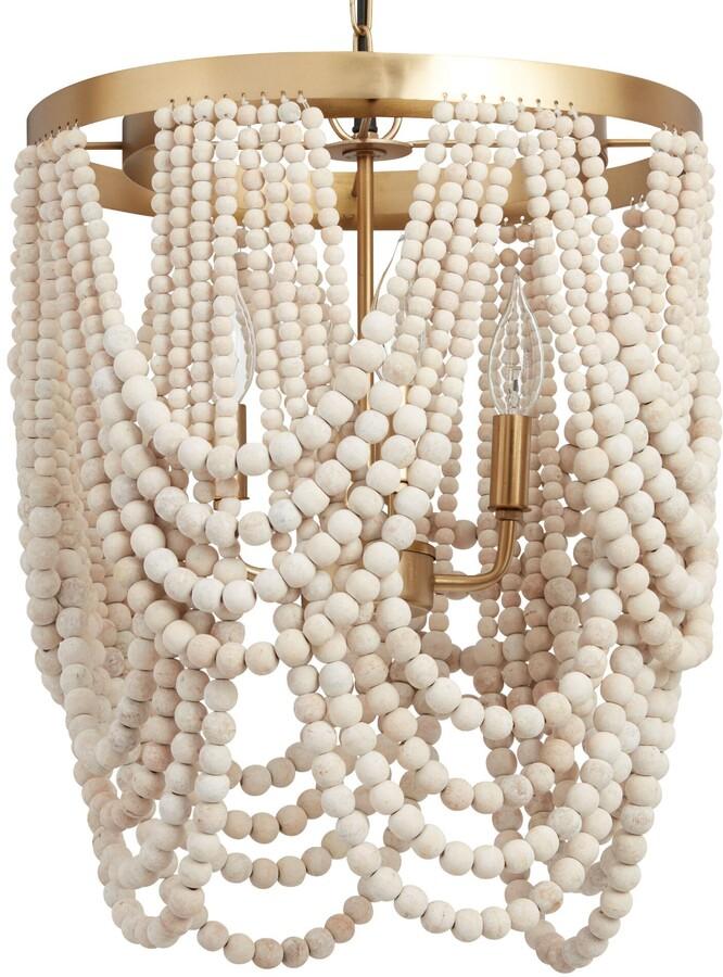 Whitewash Wood Draped Bead 4 Light Chandelier