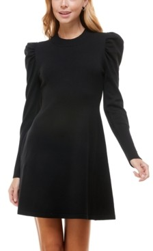 Crystal Doll Juniors' Puff-Sleeve A-Line Sweater Dress