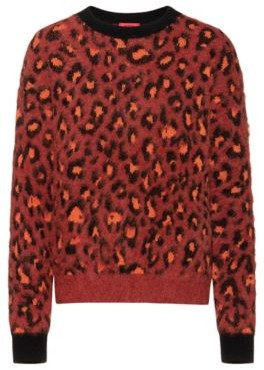 Relaxed-fit cheetah-pattern sweater in wool-blend jacquard
