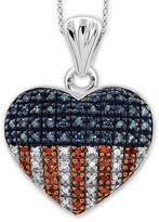 Fine Jewelry 1/4 CT. T.W. White and Color-Enhanced Blue and Red Diamond Sterling Silver Flag Heart Pendant