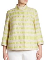 Lafayette 148 New York, Plus Size Vanna Striped Tweed Jacket