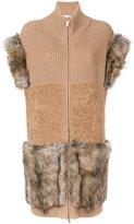 Stella McCartney Fur Free Fur-trimmed knit vest - women - Silk/Modacrylic/Polyester/Virgin Wool - 38